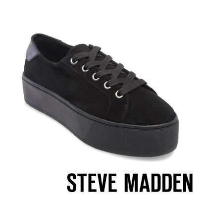 STEVE MADDEN-FELECIA-BLACK 綁帶厚底鞋-黑色