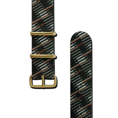 HyperGrand 圖騰印花金扣尼龍錶帶-黑綠色/20mm