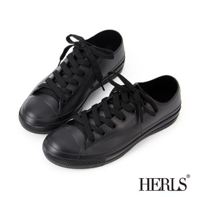 HERLS-雨季必備-帆布款低筒綁帶雨鞋-黑色