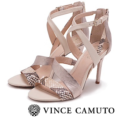 Vince Camuto 美型緞帶感蛇紋高跟涼鞋-白色