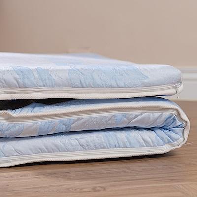 eyah宜雅 台灣製可折疊雙面裹竹蓆面三折太空記憶棉床墊-單人3尺 水藍緹花