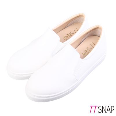TTSNAP內增高-MIT素面修長真皮內增高休閒鞋 白