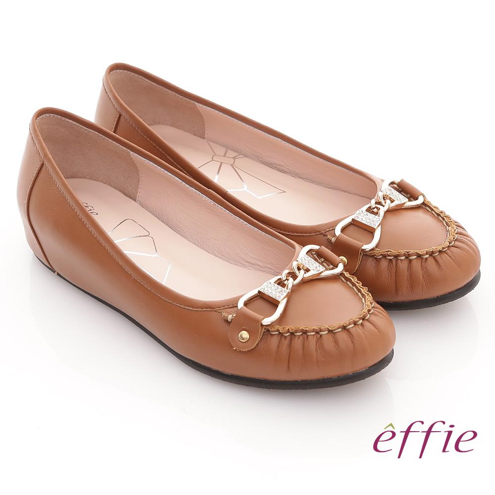 effie 俏麗悠活 全牛皮水鑽金扣內增高平底鞋 卡其 @ Y!購物