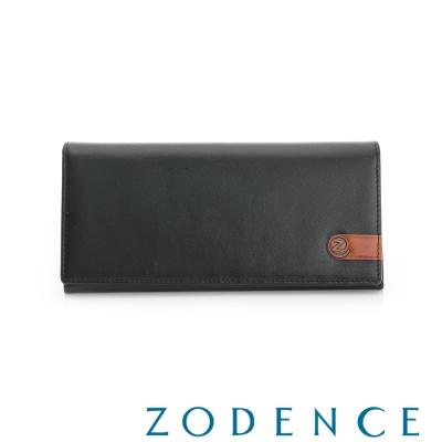 ZODENCE MAN 義大利牛皮系列配色LOGO設計多卡層長夾 黑