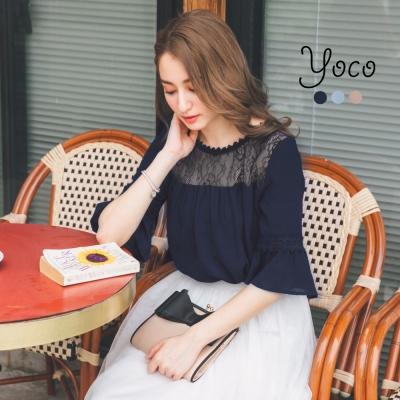 東京著衣-yoco 裸肌質感拼接蕾絲雪紡上衣-S.M.L(共三色)