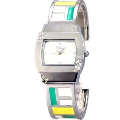 Cloie  彩色方塊甜心時尚手腕錶-綠白黃/28mm