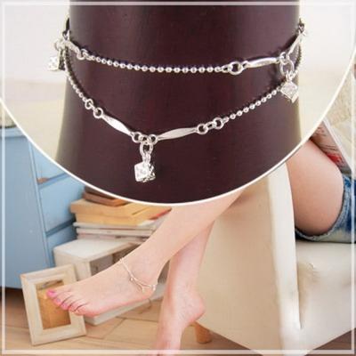 維克維娜 俏皮趣味 精巧骰子造型雙細珠鍊腳鍊 925純銀腳鍊