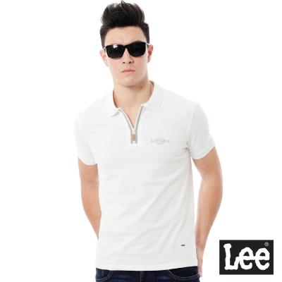 Lee 休閒短袖POLO衫-男款-白色