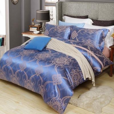 生活提案 嫘縈緹花四件式被套床包組 雙人 尊貴藍
