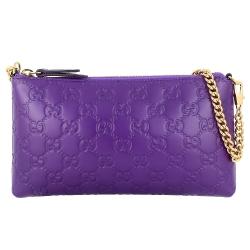 GUCCI Signature 紫色厚質真皮壓紋金屬鍊帶肩背/手提包