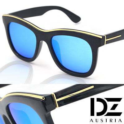 【2件59折】DZ 金眉圈邊T線腳 抗UV 偏光 太陽眼鏡墨鏡(冰藍膜)