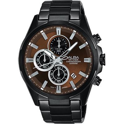 ALBA ACTIVE 活力運動型男計時腕錶(AM3349X1)-咖啡x鍍黑/42mm
