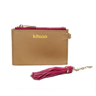 kitson 流蘇Card case真皮鎖匙/零錢包-GOLD