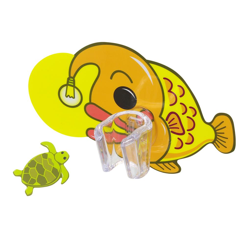 黏樂趣 NELO 卡通造形蓮蓬頭座架重複貼掛勾組(燈籠魚)