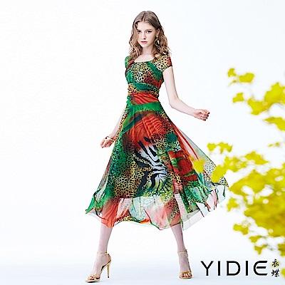 【YIDIE衣蝶】熱帶雨林豹紋彈力網紗洋裝