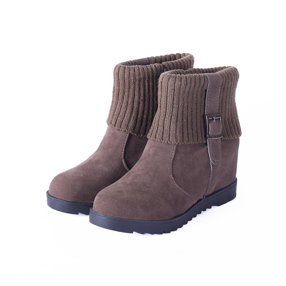 TTSNAP短靴-素面皮絨毛線襪套顯瘦內增高踝靴 卡