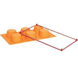 EXCELSA Sweet硬框六格矽膠瑪芬烤盤(橘)