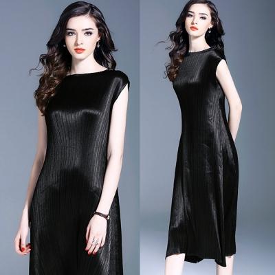 歐美大氣黑色壓摺背心連身裙-糖潮