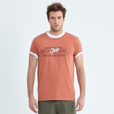 Jeep 創意文字圖騰T恤-橘色