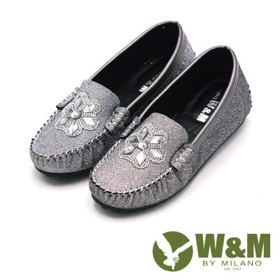 W&M 閃亮亮水鑽豆豆鞋娃娃鞋 女鞋-銀(另有黑)