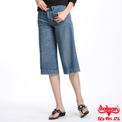 BOBSON 女款低腰粗結紗七分褲(藍112-58)