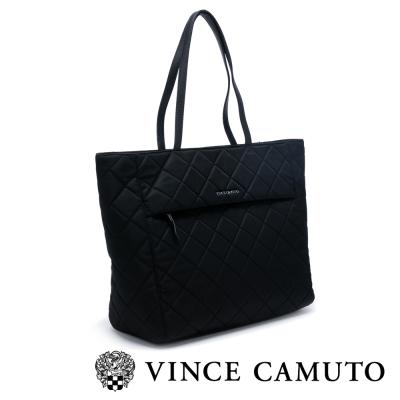 VINCE CAMUTO 英倫時尚 菱格尼龍布肩背包-黑色