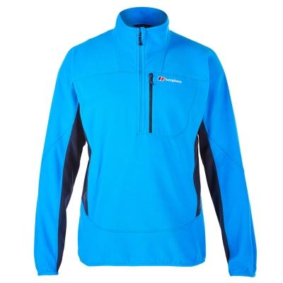 【Berghaus貝豪斯】男款 PRISM 刷毛保暖半襟上衣H51M05-藍