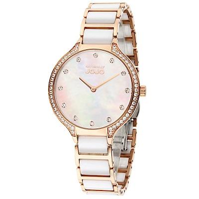 NATURALLY JOJO 經典陶瓷晶鑽時尚腕錶-白x玫瑰金/34mm