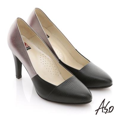 A.S.O 減壓美型 全真皮拼接壓紋窩心高跟鞋 黑