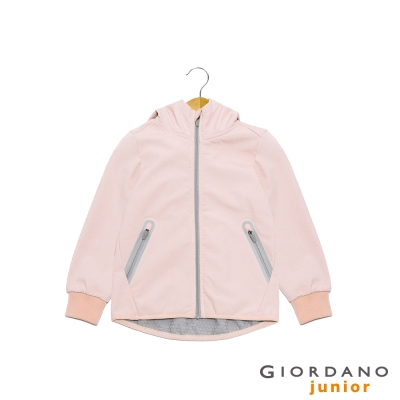 GIORDANO 童裝G-MOTION輕量撞色防風保暖連帽外套 - 26 薄紗粉紅