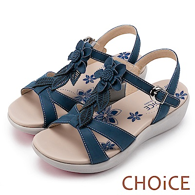 CHOiCE 親膚涼爽春意 嚴選牛皮花葉點綴厚底涼鞋-藍色