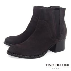 Tino Bellini 義大利進口仿舊擦色中跟切爾西靴_ 深咖