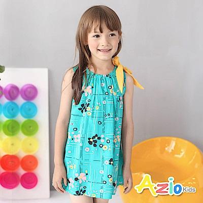 Azio Kids 童裝-洋裝 彩花線格黃蝴蝶結洋裝(綠)