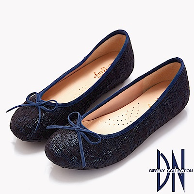 DN 時髦優雅 質感異材蝴蝶結平底鞋-藍