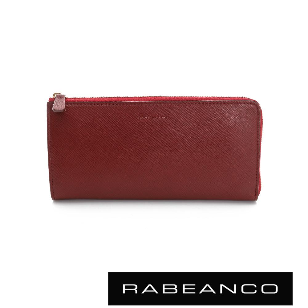 RABEANCO 迷時尚系列十字紋撞色拉鍊長夾 - 紅