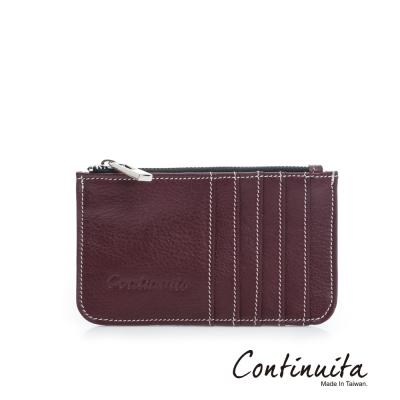 Continuita-康緹尼-MIT-頭層牛皮拉鍊卡片夾-深紅