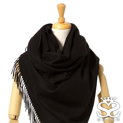 SOFER-簡約素色100-純羊毛保暖披肩-圍巾-經典黑new