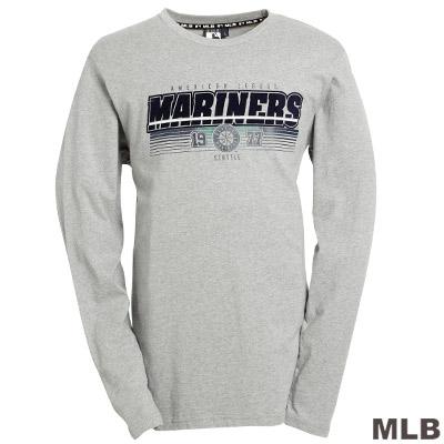 MLB-邁阿密馬林魚隊字母LOGO棉質T恤-灰-男