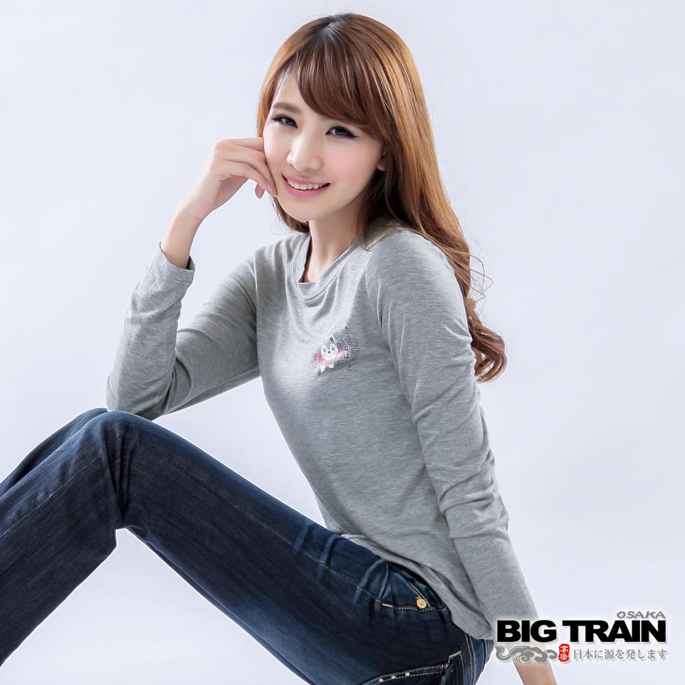 BIG TRAIN 犬張子團花發熱TEE-女-麻灰