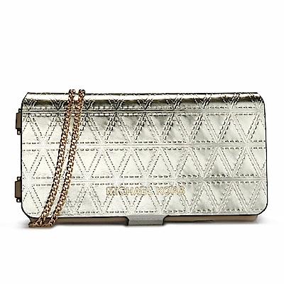 MICHAEL KORS 幾何摺線壓紋金屬皮革斜背鏈帶翻蓋式手機包-香檳金色