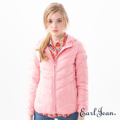 Earl Jean 輕量連帽羽絨外套-粉紅-女
