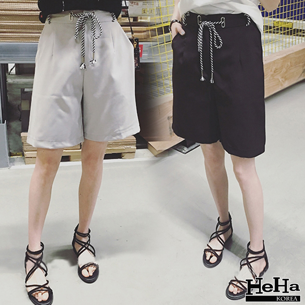 短褲 繫帶休閒五分褲 二色-mini嚴選