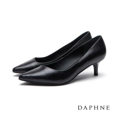 達芙妮DAPHNE-高跟鞋-全真皮素面中跟尖頭鞋