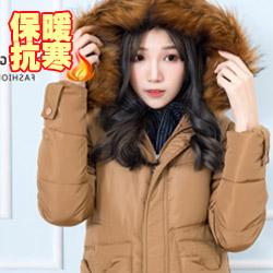 毛領連帽深口袋羽絨棉長外套