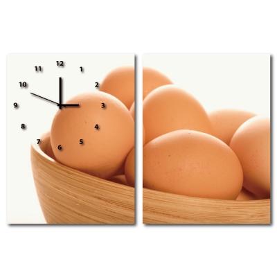 24mama掛畫-二聯直幅有機蔬菜餐廳飯店日本機芯時鐘無框畫掛畫-雞蛋-30x40cm