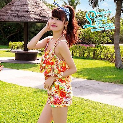 【AngelLuna日本泳裝】印花平口三件式比基尼泳衣-橘色連身裙