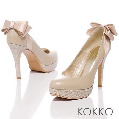 KOKKO花漾典藏系列‧紅毯吸睛焦點羊皮跟鞋 - 粉膚