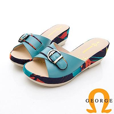 GEORGE 喬治-熱帶風情厚底拖鞋涼鞋-淺藍