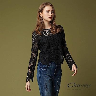 OUWEY歐薇 縷空圖騰蕾絲兩件式上衣(黑)
