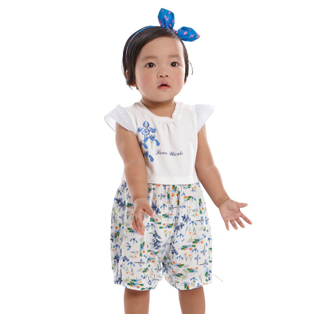 愛的世界 半袖鳶尾花印花衣連褲/6個月~2歲